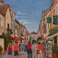Monpazier Village Scene – France Art Gallery – Oil Painting by Weybridge Surrey Artist Jane Atherfold
