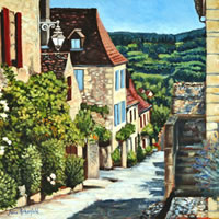 Dordogne Domme France Art Gallery – Oil Painting by Weybridge Surrey Artist Jane Atherfold