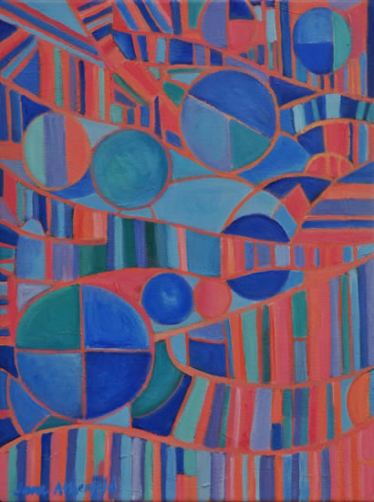 Abstract Art Gallery - Meridian - Painting by Weybridge Surrey Artist Jane Atherfold