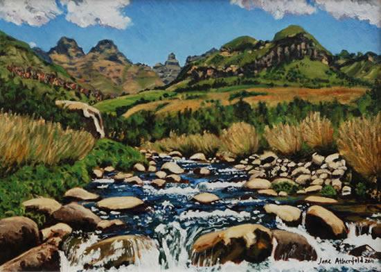 Cathedral Peak Drakensberg Mountains - South Africa Art Gallery - Jane Atherfold