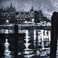 Charing Cross View – London by Night Art Gallery