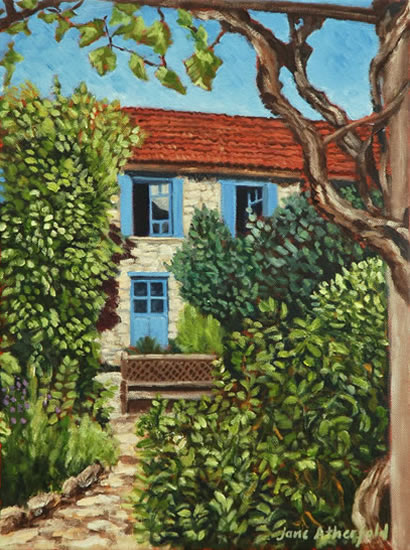 Coux-et-Bigaroque Dordogne Courtyard at Le Chambellan - France Art Gallery