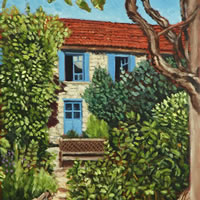 Coux-et-Bigaroque Dordogne Courtyard at Le Chambellan – France Art Gallery