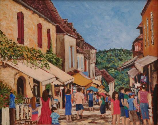 Dommes Village Busy Street Scene - Dordogne France Art Gallery