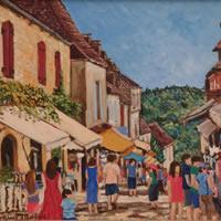 Dommes Village Busy Street Scene – Dordogne France Art Gallery