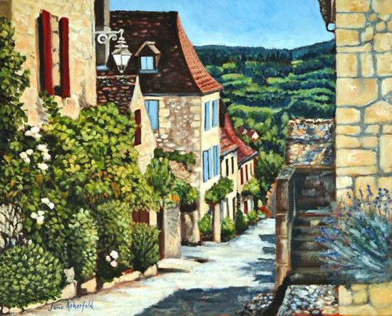 Dordogne Domme France Art Gallery - Painting by Weybridge Surrey Artist Jane Atherfold