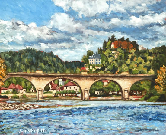 Dordogne Limeuil from the River - France Art Gallery - Oil Painting by Weybridge Surrey Artist Jane Atherfold