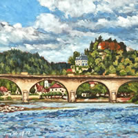 Dordogne Limeuil from the River – France Art Gallery – Oil Painting by Weybridge Surrey Artist Jane Atherfold