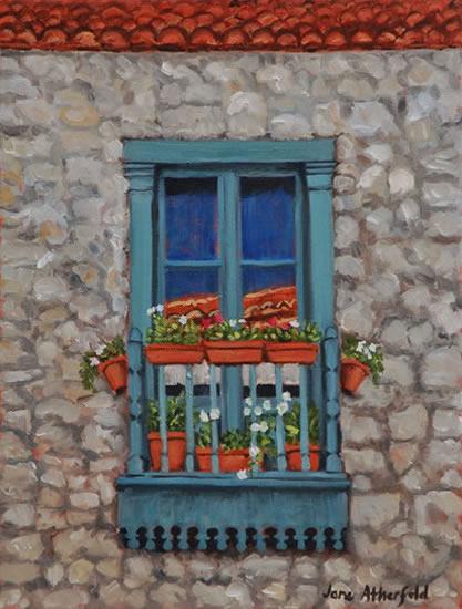 Juliet Balcony Monpazier Dordogne Painting - France Art Gallery