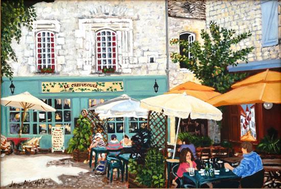 Martell Village Square Dordogne - France Art Gallery - Oil Painting by Weybridge Surrey Artist Jane Atherfold