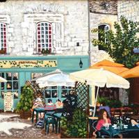 Martell Village Square Dordogne – France Art Gallery – Oil Painting by Weybridge Surrey Artist Jane Atherfold