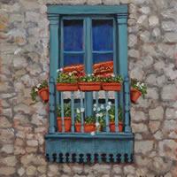 Juliet Balcony Monpazier Dordogne Painting – France Art Gallery