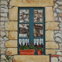 Window Monpazier Dordogne Painting – France Art Gallery