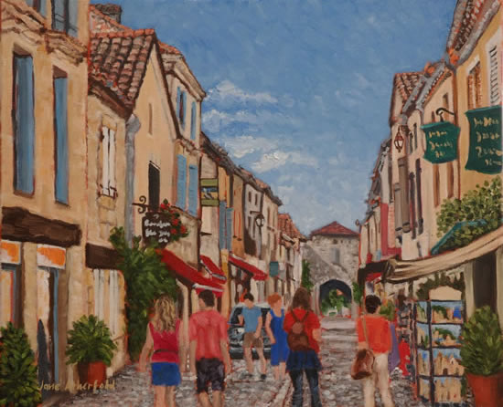 Monpazier Village Scene - France Art Gallery - Painting by Weybridge Surrey Artist Jane Atherfold