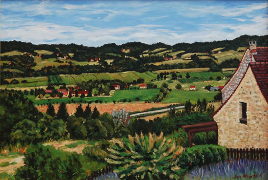 Mouzens Valley Painting Dordogne France