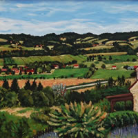 Mouzens Valley Painting Dordogne France
