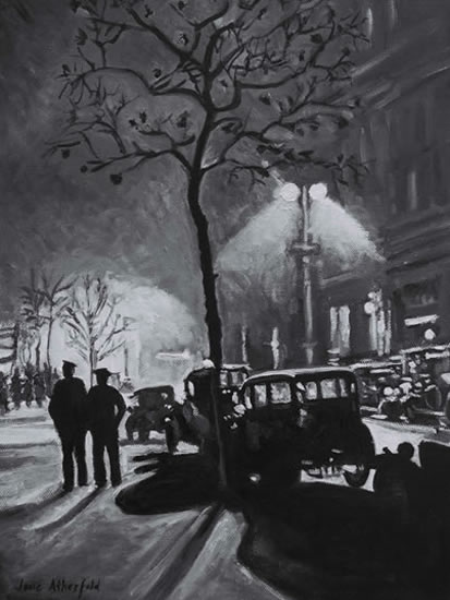 Northumberland Avenue - London by Night Scene Painting