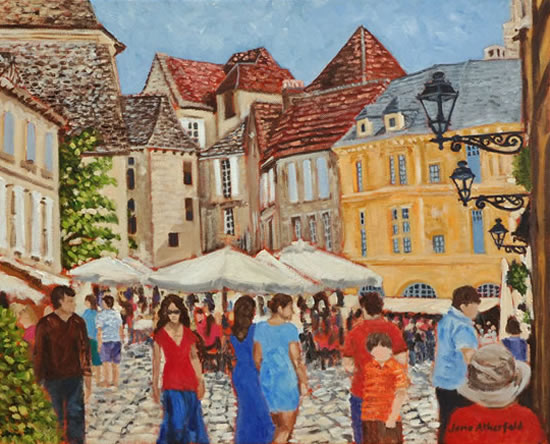 Sarlat-la-Canéda Dordogne Village Scene - France Art Gallery - Oil Painting by Weybridge Surrey Artist Jane Atherfold