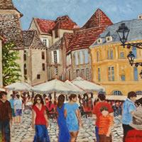 Sarlat-la-Canéda Dordogne Village Scene – France Art Gallery – Oil Painting by Weybridge Surrey Artist Jane Atherfold