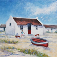 Arniston Fishermen's Cottages Oil Painting – South Africa Art Gallery