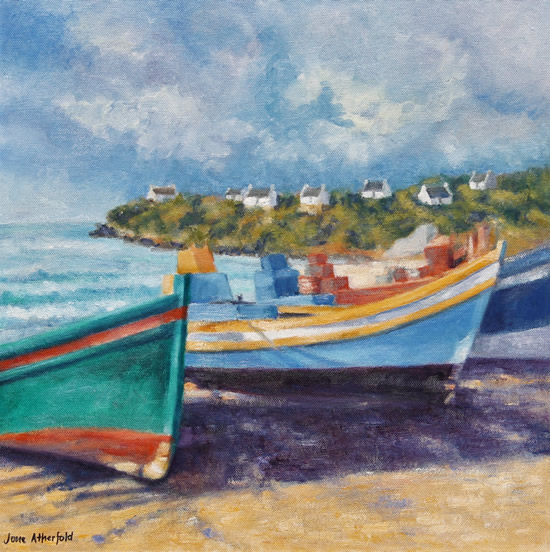 Arniston Fishing Boats Oil Painting - South Africa Art Gallery