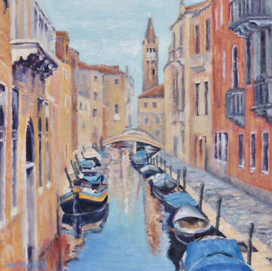 Canal in Venice Oil Painting - Italy Art Series