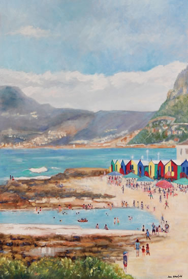 Cape Town Hazy Day at St James Beach - Oil Painting - South Africa Art Gallery