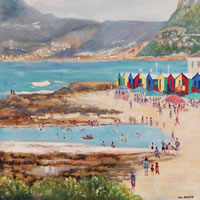 Cape Town Hazy Day at St James Beach – Oil  Painting – South Africa Art Gallery