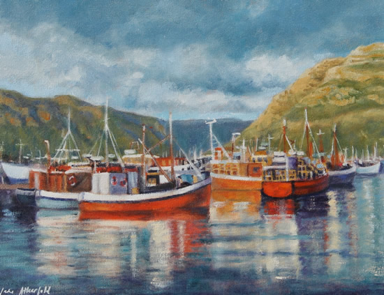 Cape Town Hout Bay Fishing Boats Moody Skies Oil Painting - South Africa Art Gallery