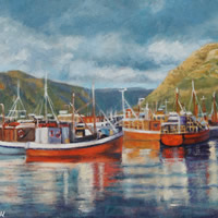 Cape Town Hout Bay Fishing Boats Moody Skies Oil Painting – South Africa Art Gallery