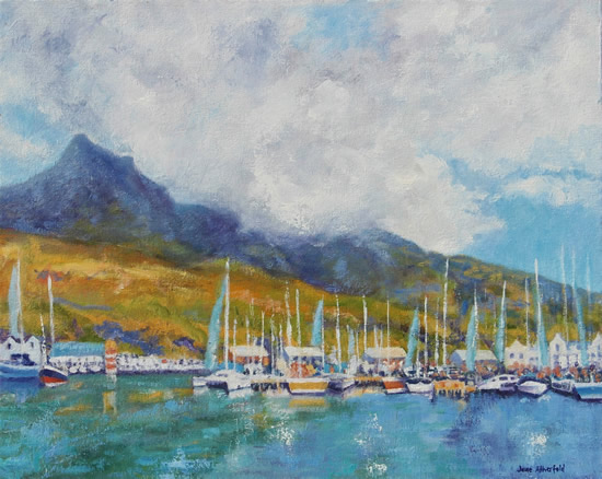 Cape Town Hout Bay Marina Oil Painting - South Africa Art Gallery
