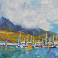 Cape Town Hout Bay Marina Oil Painting – South Africa Art Gallery