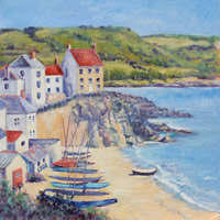 Cawsands Cornwall Oil Painting – Landscape Art