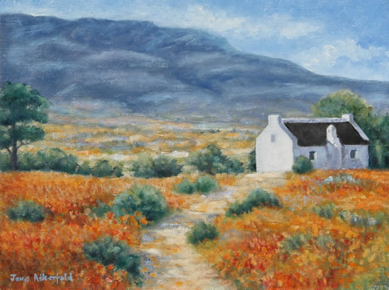 Cederberg Biedouw Valley White Cottage Oil Painting - South Africa Art Gallery