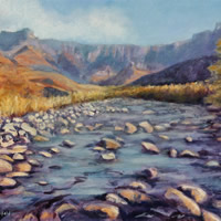 Drakensberg Amphitheatre with Tugela River – Oil Painting – South Africa Art Gallery