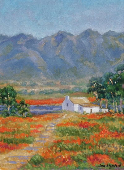 Farmers Cottage Namaqualand Daisies - Oil Painting - South Africa Art Gallery