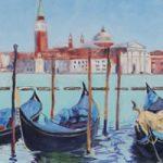 Gondolas and San Giorgio Maggiore Venice Oil Painting – Italy Art Series