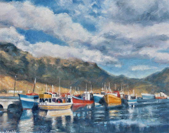 Hout Bay Fishing Boats Billowing Clouds Oil Painting - South Africa Art Gallery