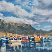 Cape Town, Hout Bay Fishing Boats Billowing Clouds Oil Painting – South Africa Art Gallery