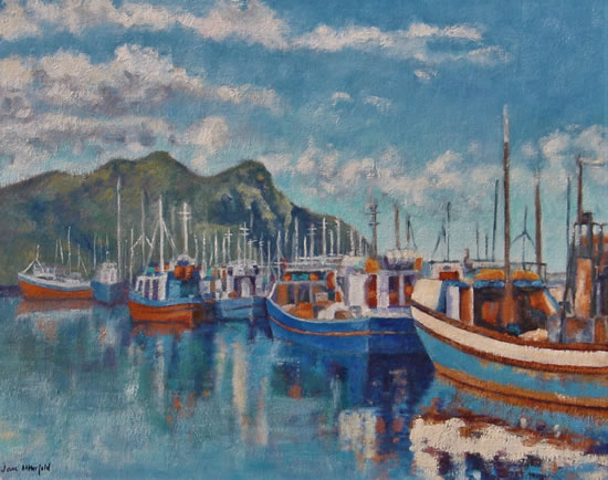 Cape Town, Hout Bay Fishing Boats Early Morning Oil Painting - South Africa Art Gallery