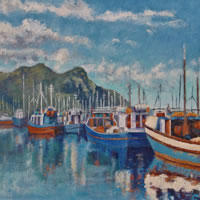 Cape Town, Hout Bay Fishing Boats Early Morning Oil Painting – South Africa Art Gallery
