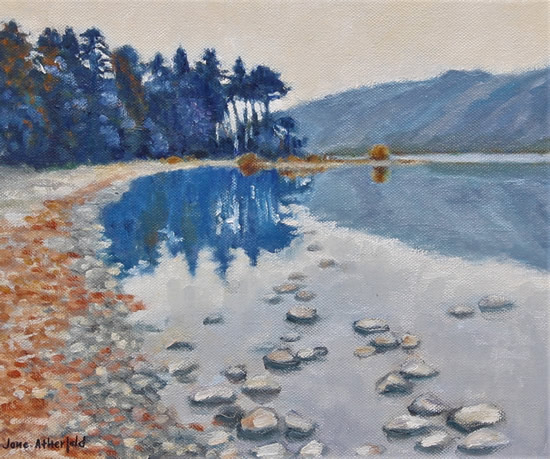Lake District Derwent Waters Milky Twilight Painting - English Landscape Art Gallery