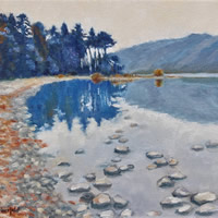 Lake District Derwent Waters Milky Twilight Painting – English Landscape Art Gallery