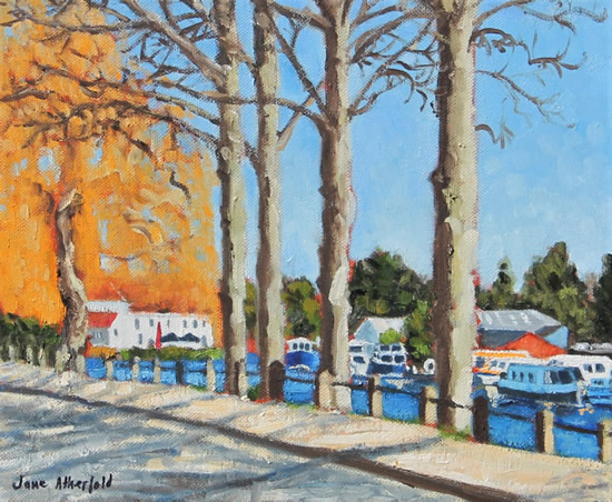 River Green Norwich Norfolk Landscape Art - Oil Painting - Jane Atherfold