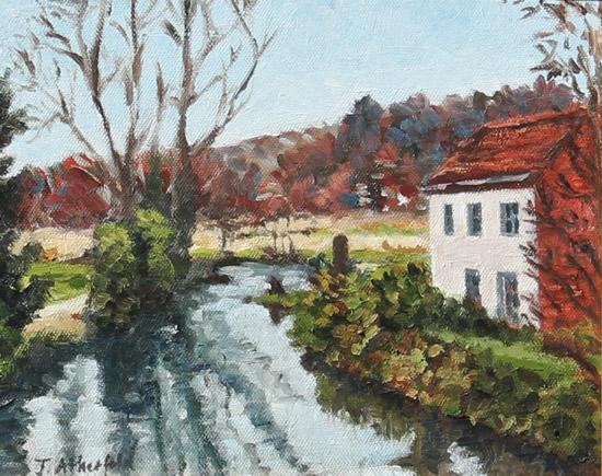 River Wey Godalming Surrey England Oil Painting - Landscape Art