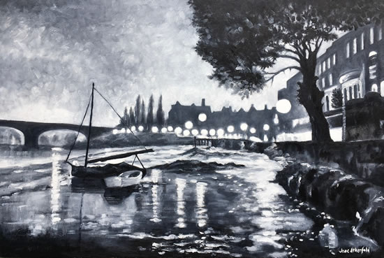 Strand-on-the-Green London Black and White Art Gallery - Oil Painting