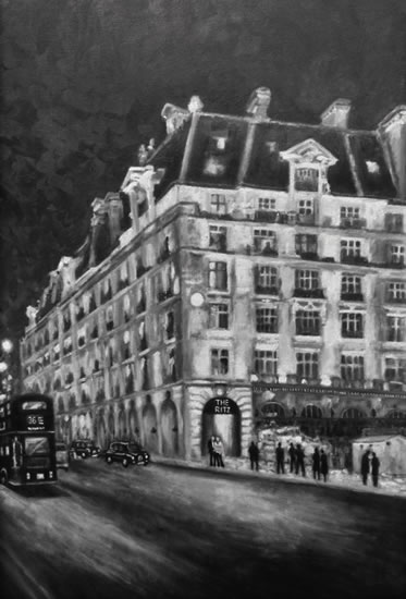 The Ritz Hotel London - Black and White Art Gallery - Oil Painting